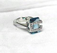 GUESS COLLECTION Elegant Ring 8.5 Blue Quartz Sterling Silver 925 - New #GUESS