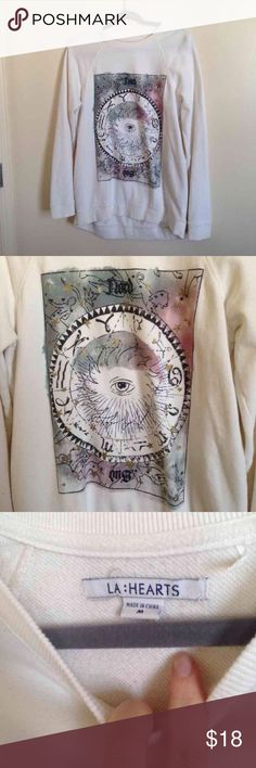 Celestial Crewneck From Pacsun. Brand is LA Hearts. Watercolor graphic on ivory. Worn once-twice. No flaws! A tad long design (: PacSun Sweaters Crew & Scoop Necks