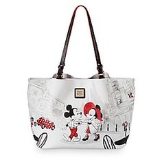 Mickey and Minnie Mouse Cafe Leather Tote by Dooney & Bourke | Disney Store Minnie totes a glimpse of intercontinental glamour to Main Street U.S.A. with this leather bag by Dooney & Bourke. Though elegant and sophisticated in black and white hues, it never loses that youthful patina of Disney fun you adore.