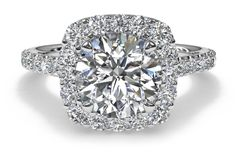 Custom Engagement Rings - Round Diamond with Cushion Halo