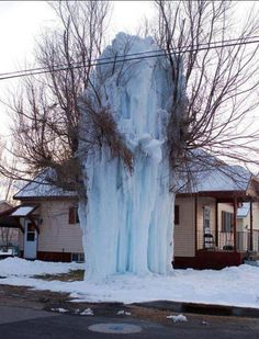 This is what an exploded water hose in subzero temperatures looks like.