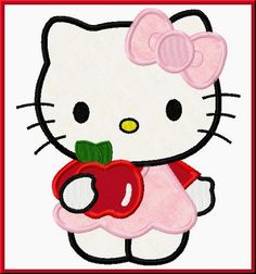 Kitty Back To School With Apple Embroidery Machine Applique Design