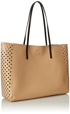 POVERTY FLATS by rian Perf Shopper Tote, tan with brown liner.
