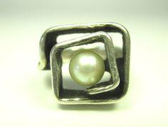 OLY Designer Ring 835 Silber Perle Vintage 70er silver Modernist Boho rr N4