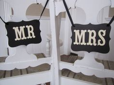 MR and MRS Wedding Signs for Wedding Photos, Receptions, Chair Backers, Wedding Thank You Photos. $12.00, via Etsy.