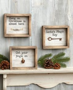 This Rustic Holiday Shadowbox is a fine addition to your seasonal decor. Hang it up or set it anywhere--it's even lightweight enough to set in the branches Holiday Signs, Christmas Signs, Christmas Wood, Christmas Time, Key Wall Decor, Cottage Curtains, Santa's Magic Key, Seasonal Decor, Holiday Decor