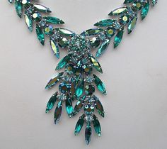SHERMAN signed Emerald Green Rhinestone NECKLACE & EARRINGS  forgetmeknotantiques (seller) ebay.com