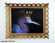 'THE BLUE QUEEN'. Crown Bird painting  original Little Blue Heron bird art with vintage Frame by 4WitsEnd, via Etsy