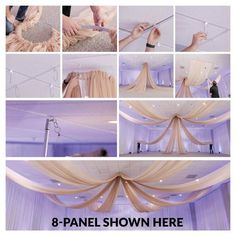 Ceiling Draping Kit - HARDWARE ONLY Our elegant ceiling draping kits are engineered to be lightweight and durable. This kit includes ceiling draping HARDWARE ONLY. Our ceiling draping kits are designed for easy installation . Wedding Ceiling Decorations, Ceiling Draping Wedding, Reception Decorations, Quince Decorations, Reception Ideas, Fabric Ceiling, Event Decor Direct, Wedding Rentals, Ceiling Design