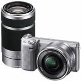 Sony NEX5T 16.1MP Compact System Camera with 16-50mm Lens - Silver & Extra 55-210mm Lens - Silver