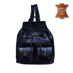 8e67b845c6 Leather World Genuine Leather Casual Women Backpack - Black -  BP3009