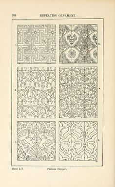 A handbook of ornament; by Meyer, Franz Sales, Plate 177 Islamic Motifs, Persian Motifs, Islamic Art, Arabesque, Zentangle, Grabar Metal, Cow Skull Decor, Art Nouveau, Gothic Pattern