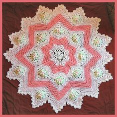 dogwood blossom 8 to 16 point round ripple,heirloom baby afghan - FREE pattern