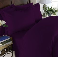 Elegant Comfort® 1500 Thread Count Egyptian Quality 2pcs PILLOW CASES - ALL SIZES AND COLORS, King, Purple