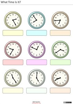 Printable worksheets for kids What time is it? Clock Worksheets, French Worksheets, Kids Math Worksheets, Printable Worksheets, Math Resources, Learning Activities, Reading Comprehension Worksheets, School Calendar, Teaching Time