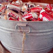 Galvanized tub filled with sodas and one for beer. We rented our buckets.