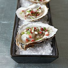 Even appetizers fancy enough for a black-tie New Year's Eve party can be made superfast: Oysters with Pink Peppercorn Mignonette | CookingLight.com