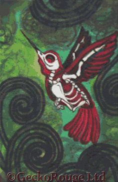 would be AMAZING as a tattoo!! Modern Skeleton Hummingbird Cross Stitch Kit By Shayne of the Dead 'Last Flight' - DOTD Tattoo