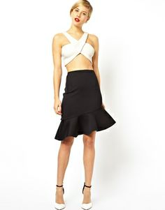 ASOS Pencil Skirt in Scuba With Peplum Hem