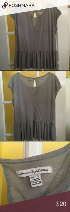 American Eagle Gray Peplum Top w/ Keyhole Back Gray peplum top with a keyhole opening in back. Super soft, comfy, and stylish. Only worn once to try on. Perfect for every day! American Eagle Outfitters Tops Tees - Short Sleeve