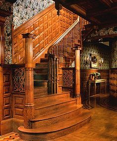 Staircase in a Tradtional Victorian Home: Lots of wood, moldings ...