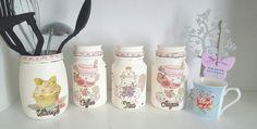 Coffee tea sugar utensil jars. Kitchen by SophsPaperButterfly
