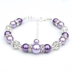 Bridesmaid Jewelry, Purple and Lavender Pearl Rhinestone Bracelet, Bridesmaid Gifts, Bridal Party, Bling Bracelet