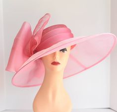 Church Kentucky Derby Carriage Tea Party Wedding Wide Brim Woman's Royal Ascot Hat Wide Brim Sinamay Hat w Organza Coral by NewJump on Etsy https://www.etsy.com/listing/517020119/church-kentucky-derby-carriage-tea-party