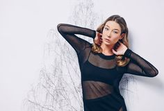 SALE 50 OFF Women Top Black Sheer Long Sleeves Knit by NoteFashion, $60.00