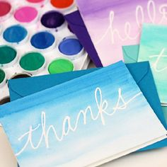 These beautiful watercolor cards look complicated, but with one tool, they are incredibly easy!
