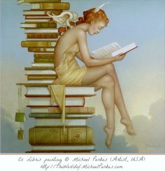 """""""Ex Libris"""" painting © Michael Parkes (Artist, USA-Spain). Fantasy Art, Magic Realism. [Do not remove caption. international copyright law requires you to credit the artist. Link directly to his website.]   PINTEREST on COPYRIGHT:  http://pinterest.com/pin/86975836526856889/ The Golden Rule: http://www.pinterest.com/pin/86975836527744374/ Food for Thought: http://www.pinterest.com/pin/86975836527798092/"""