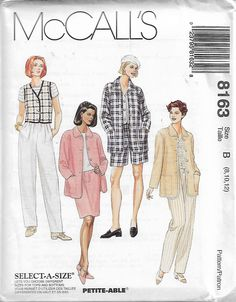 McCall's 8163 Size 8-10-12 Bust 31 1/2 - 34 Misses' Shirt-Jacket, Vest, Pull-On Pants, Shorts and Skirt Sewing Pattern 1996 Uncut by LadybugsandScorpions on Etsy
