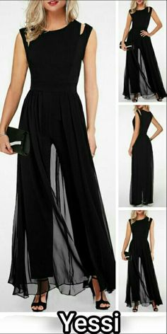 17 Black Round Neck High Waist Chiffon Overlay Jumpsuit is part of Vintage fashion Denim Shorts - Vintage fashion Denim Shorts Fashion Wear, Fashion Dresses, Mode Outfits, Beautiful Outfits, Evening Dresses, Ideias Fashion, Dress Up, Chiffon, 17 Black