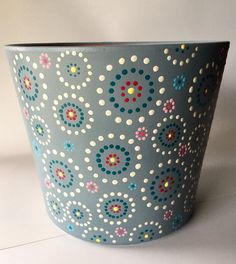 Excited to share the latest addition to my shop: Blue Subdue Painted Plant Pots, Painted Flower Pots, Paint Garden Pots, Painted Pebbles, Hand Painted, Flower Pot Art, Flower Pot Design, Flower Pot Crafts, Ceramic Painting