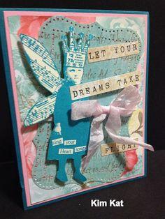 Pop Up Card Girl Fairy Handmade Card 3D Card Crown by KimKatShop