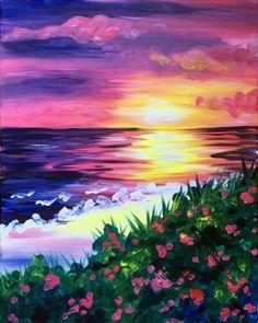 Seashore flowers sunset painting.