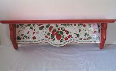 "Vintage Broken China Ceramic Delightful ""Strawberries"" Pattern and ""Shabby Chic"" Painted Shelf"