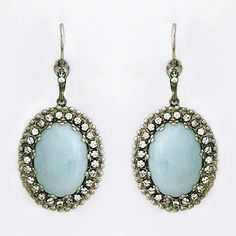 Sorrelli Sky Blue Peach Collection. Oval turquoise drop earrings with a Southwestern vibe and a touch of crystals. A favorite summer time earring.