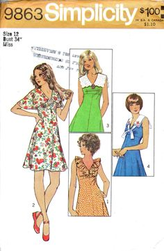 I had this pattern! Simplicity 9863 Misses V Neck Mini DRESS Pattern Cape Scalloped Sailor and Ruffle collar options womens vintage sewing pattern by mbchills Vintage Dress Patterns, Vintage Dresses, Vintage Outfits, Vintage Fashion, Vintage Vogue, Vintage 70s, 1970 Style, Patron Vintage, Collar Pattern