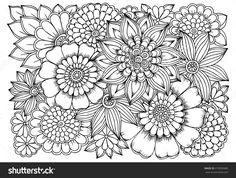 Flowers in black and white for coloring. Doodle art pattern