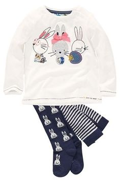 Ecru Bunny T-Shirt And Bunny Tights Set (3mths-6yrs)