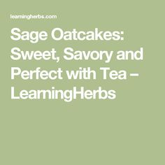 Sage Oatcakes: Sweet, Savory and Perfect with Tea – LearningHerbs