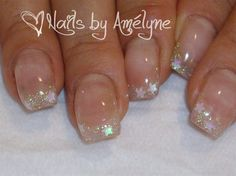 Trasparent French With White Stars Zoom by Amelyne from Nail Art Gallery