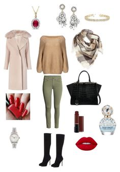 """Winter in style"" by itaayu on Polyvore featuring Fendi, Jimmy Choo, BP., Diane Von Furstenberg, Lime Crime, Marc Jacobs, Allurez and Rolex"