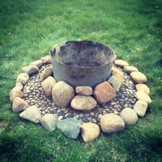 Fire pit! Old bricks, old washer, dollar store stones, and rocks from the farm!