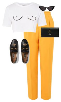 """Untitled #13711"" by alexsrogers ❤ liked on Polyvore featuring Topshop and Gucci"