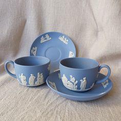 Wedgwood Blue Jasperware Tea Cups and Saucers