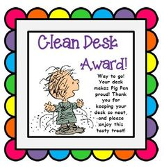 Use this Clean Desk Award to reward students for their tidy desk in your Snoopy themed classroom! Instead of the Clean Desky Fairy visiting overnight, Pig Pen stops by your classroom to reward students for their neat desk. There are 4 Clean Desk Awards to a page.