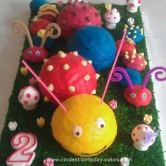 Homemade Caterpillar Birthday Cake: My little girl told me she wanted a Caterpillar birthday cake for her second birthday. I Googled till I saw a few pictures and then let my imagination