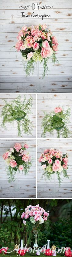 Towering Centerpiece. Find your favorite silk flowers at Afloral.com and create a gorgeous arrangement. Use a round floral container, specially made for tower vases, and floral foam. Add hanging ferns and flowers to create a dramatic look. Find everything you need at Afloral.com.